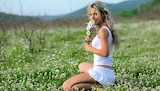 Beautiful, blonde girl, bouquet, flower meadow, smile, sitting