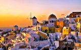 Oia at sunset onThira. Greece