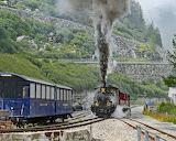 Steam railway Furka pass Switzerland