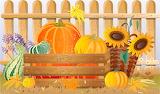 Autumn, pumpkins, sunflowers, flowers, fence, digital art, color