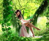 Girl, greens, grass, leaves, trees, pink dress, brunette, hammoc