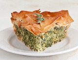 Spinach and chard phyllo dough torte