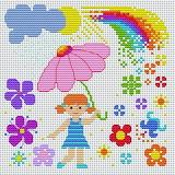 sol,rosa,niña - online jigsaw puzzle - 16 pieces