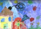 Zuzia patrzy w gwiazdy - online jigsaw puzzle - 12 pieces