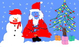 Snowman and Santa - online jigsaw puzzle - 40 pieces