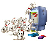 Disney-101-Dalmation-watching-tv - online jigsaw puzzle - 9 pieces